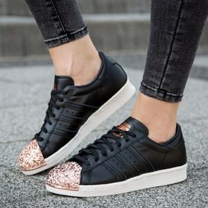 Adidas | Superstar black and rose gold metal shoe